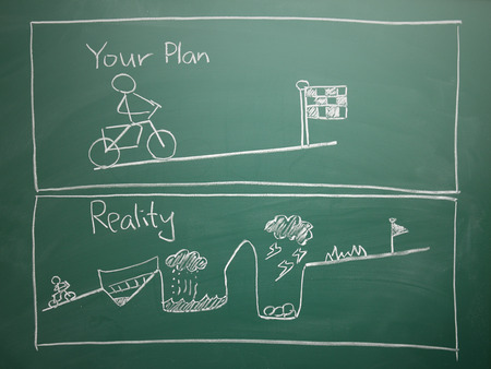 your plan vs reality drawing on Blank green chalkboard photo