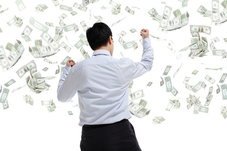 cash back: back view of business man hug money isolated on white background, concept for success business, asian model