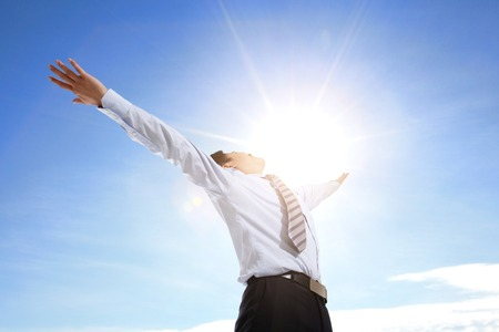outstretched arms: Business man carefree outstretched arms with sky and cloud, asian people