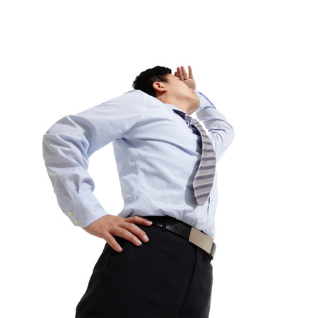 job searching: Successful business man looking away isolated on white background, asian Stock Photo