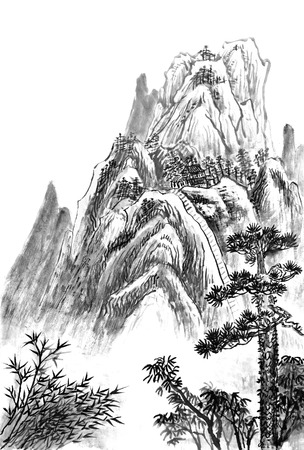 landscape: Traditional Chinese painting of high mountain landscape with cloud and mist