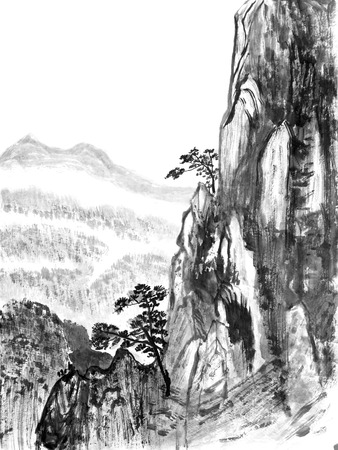 painting drawings: Traditional Chinese painting of high mountain landscape with cloud and mist