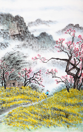 tradycyjne chińskie malarstwo, krajobraz Zdjęcie Seryjne