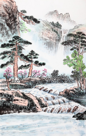 waterfall with sky: traditional Chinese painting , mountain and river Stock Photo