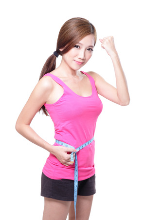 sporty woman shapes and measure on white background Banco de Imagens