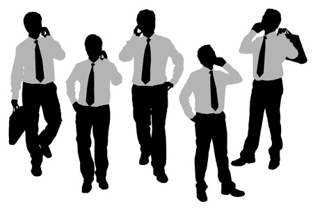 smart man: Silhouettes of Business men Walking and speaking mobile phone