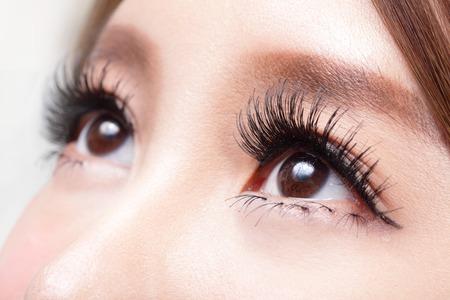 long eyelashes: Beautiful woman eye with long eyelashes. asian model Stock Photo