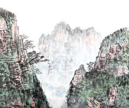 traditional Chinese painting , mountain and  floating clouds photo