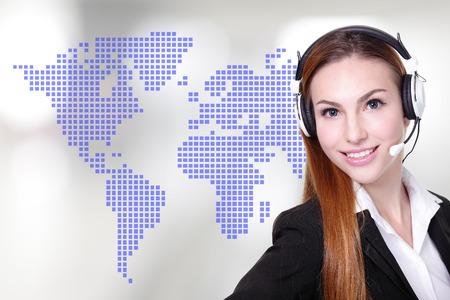 international network: Global customer service worker Business Woman customer service worker, call center operator with phone headset