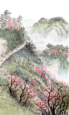 à   traditional: la pintura china tradicional, paisaje Foto de archivo