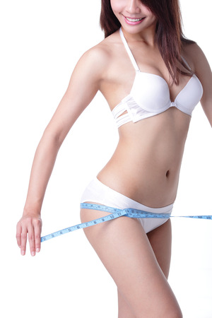 Closeup view of a gorgeous young woman with a measuring tape photo