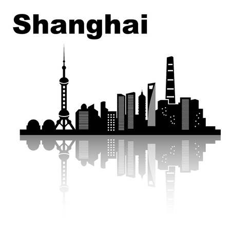 asian business people: Shanghai skyline - black and white vector illustration