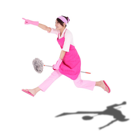 Cleaning woman housewife jumping happy excited isolated on white background  asian Stock Photo - 26730074