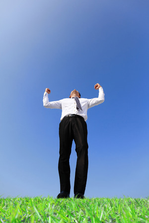 arise: Excited business man arise arm in the air cheering and celebrating a success in a green field under blue sky Stock Photo