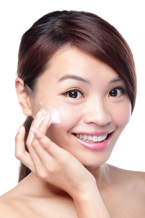 Portrait of beautiful young girl with clean skin on pretty face Stock Photo