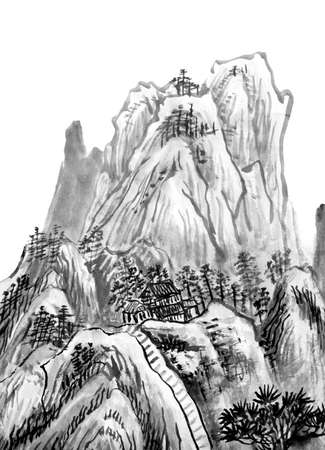 traditional Chinese painting , mountain - monochrome photo