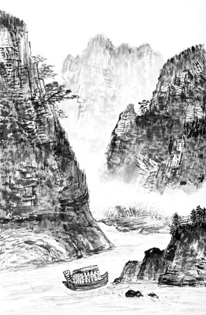 traditional Chinese painting , mountain and river  - monochrome photo