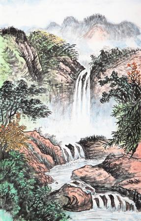 arbre paysage: la peinture traditionnelle chinoise, la montagne et de nuages ??flottants Banque d'images