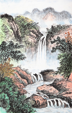 waterfall with sky: traditional Chinese painting , mountain and  floating clouds Stock Photo