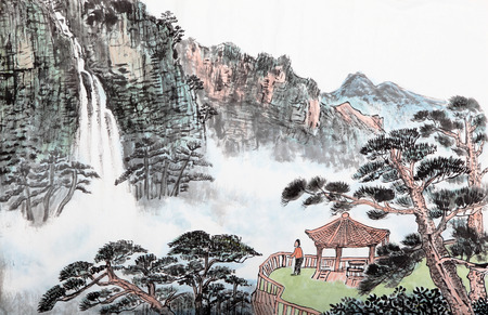villages: traditional Chinese painting , mountain and  floating clouds Stock Photo