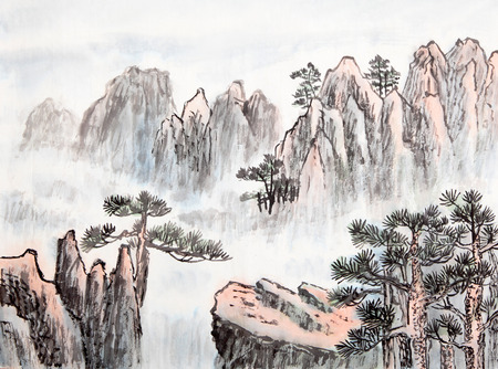 landscape painting: traditional Chinese painting , mountain