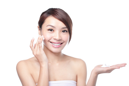 moisturizers: Portrait of beautiful young girl with clean skin on pretty face Stock Photo