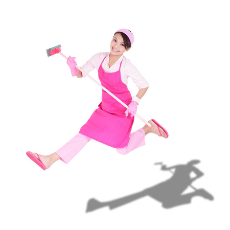Cleaning woman housewife jumping happy excited isolated on white background. asian photo