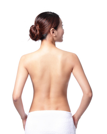 beautiful woman back view, isolated on white background, asian photo