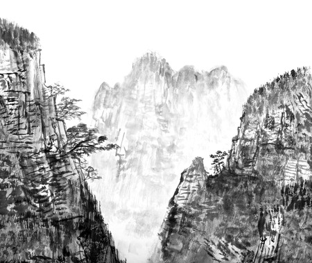 traditional Chinese painting , mountain and floating clouds-, monochrome tone photo
