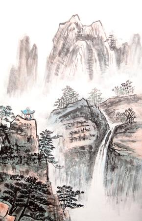 Pittura tradizionale cinese, paesaggio Archivio Fotografico - 27090155