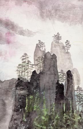 Pittura cinese tradizionale del paesaggio di alta montagna Archivio Fotografico