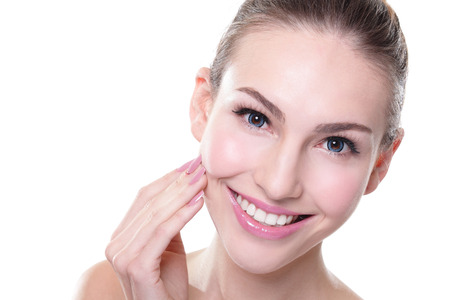 attractive smiling woman face with health teeth close up, dental care concept photo