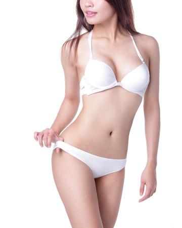 busty: Vista de cerca de un cuerpo de mujer joven y sexy Foto de archivo