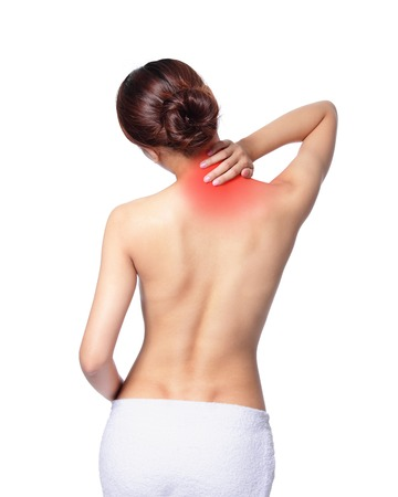 Woman massaging pain back and shoulder isolated on white background, asian photo