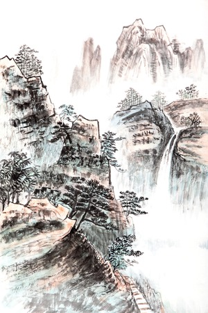 traditional Chinese painting , landscape photo