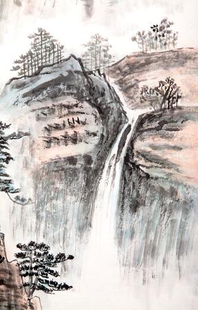 伝統的な中国の絵画、風景