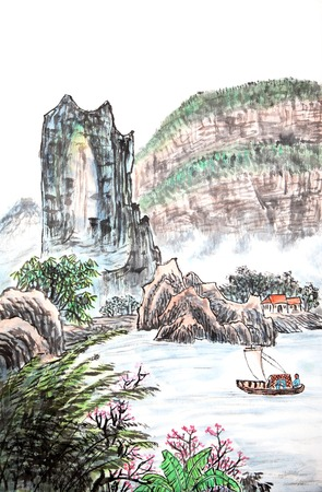 traditional Chinese painting , mountain and river Stock Photo