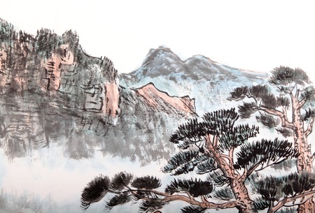 Traditional Chinese painting of high mountain landscape with cloud and mist photo