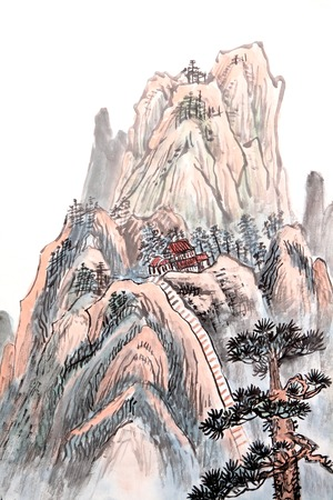 china landscape: Traditional Chinese painting of high mountain landscape with cloud and mist