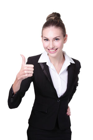 Portrait of happy business woman show thumb up isolated on white background Foto de archivo