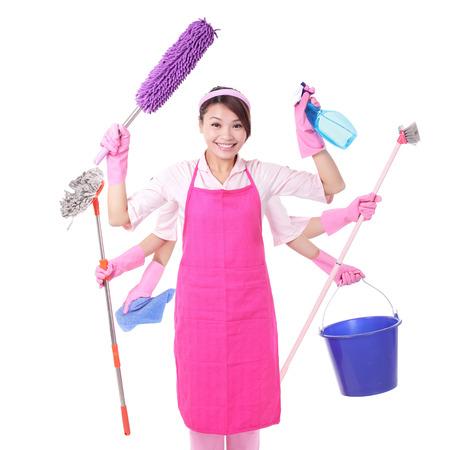 Sprzątanie kobieta. Szczęśliwy uśmiech kobieta gospodyni na białym tle. azjatycki Zdjęcie Seryjne