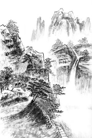 Pintura tradicional china, paisaje Foto de archivo - 27342943