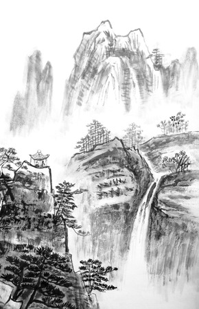 pintura abstracta: la pintura china tradicional, paisaje Foto de archivo
