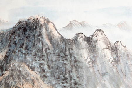 traditional Chinese painting , mountain photo