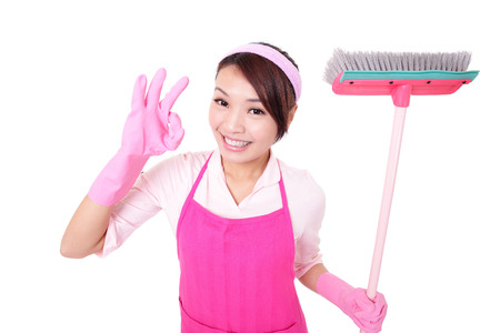 happy Cleaning woman housewife excited showing ok isolated on white background. asian photo