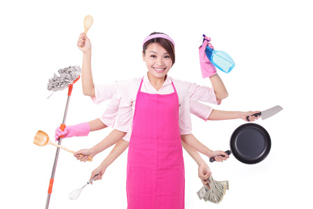 madre ocupada Mujer. Ama de casa feliz hembra sonrisa aislada sobre fondo blanco. asiático