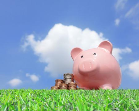 cuenta bancaria: Una hucha rosa y dinero con el fondo del cielo Foto de archivo