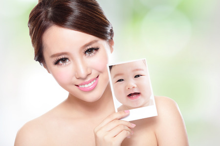 happy faces: portrait of the woman with beauty face and perfect skin like a baby, skin care concept,  asian Stock Photo