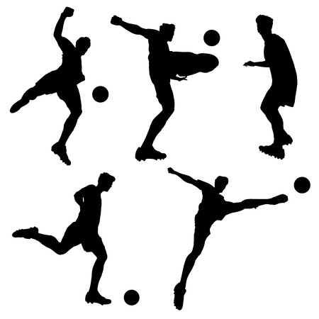football silhouette: silhouette of Soccer football player man striking the ball isolated on white background