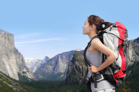 Travel in Yosemite Park, Woman Hiker with backpack enjoying view, California, USA  photo